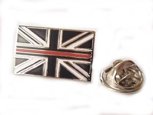 Thin Red Line Lapel Badge Union Jack Fire Brigade Mourning Band